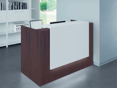 Straight Reception Desk In White–baako 1 Nut White