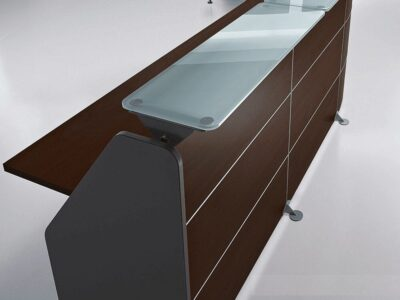 Benito 1 – Straight Reception Desk with Aluminium Contour Lines