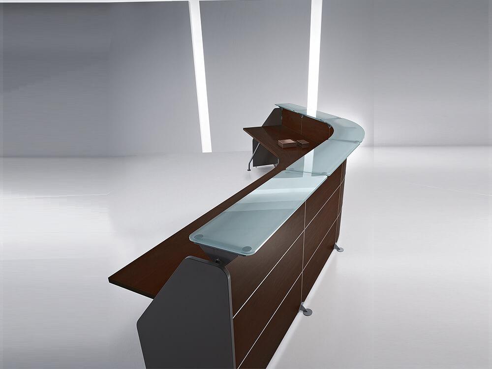 Untitled 1 Rebenito 1 – Straight Reception Desk With Aluminium Contour Linescovered