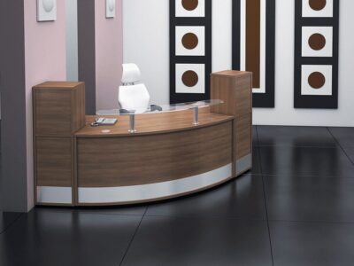 Arc – Walnut Reception Desk with Clear Glass Shelf