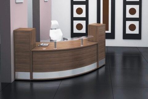 Arc – Walnut Reception Desk with Clear Glass Shelf