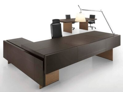 Maxine – Walnut Reception Desk with Optional Credenza Unit