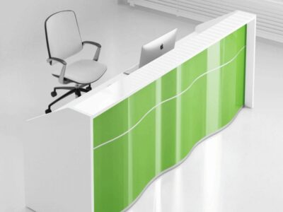 Leyla 3 – Wave Front Reception Desk with Glass Top