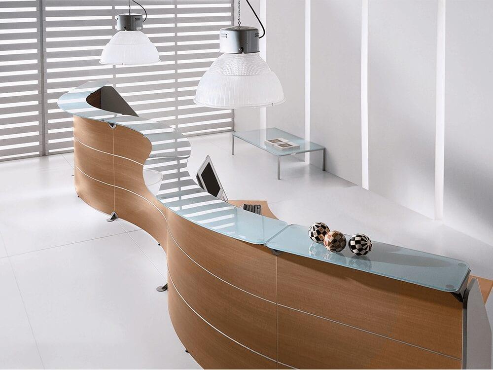 Benito 11 – Wave Reception Desk in Natural Walnut