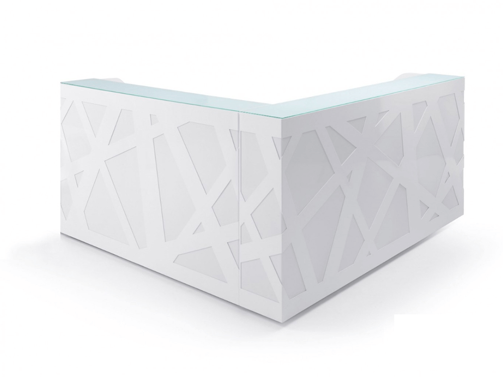 White Reception Desk With Remote Controlled Lights–ajax Ax 3 1