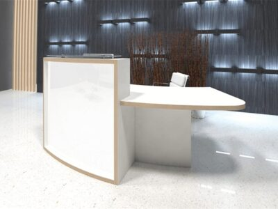 Ophelia 2 – White Reception Desk with Wheelchair Access Unit