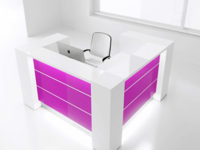 Yellow Lacquered Reception Desk In Grey–altair At 4 Fuchsia