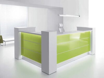 Alba 7 – Yellow Lacquered Modular Reception Desk in Grey
