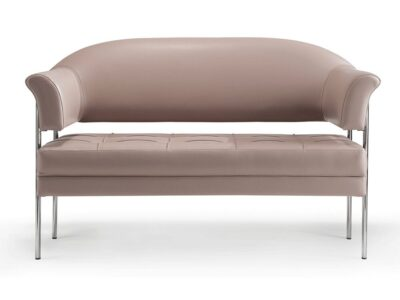 Carmella – Medium Back Two-Seater Sofa with Chrome Frame