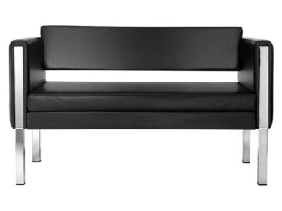 Mars – Two-Seater Sofa in Leather with Chrome Frame