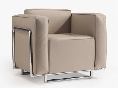 Emma – Low Back Armchair with Chrome Metal Frame