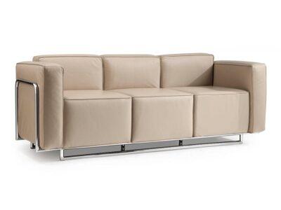 Emma – Low Back Three-Seater Sofa with Chrome Metal Frame