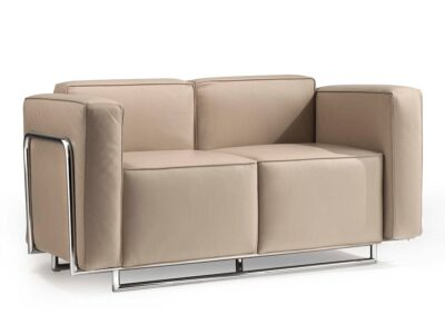 Emma – Low Back Two-Seater Sofa with Chrome Metal Frame