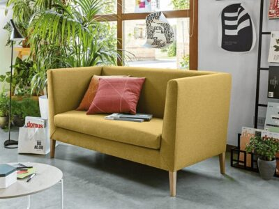 Jones – Two-Seater Sofa in Multicolour with Chrome or Wood Legs