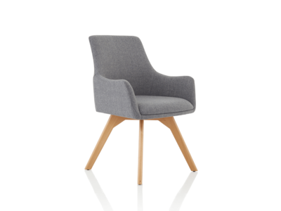 Carmen Grey Fabric Wooden Leg Chair 1
