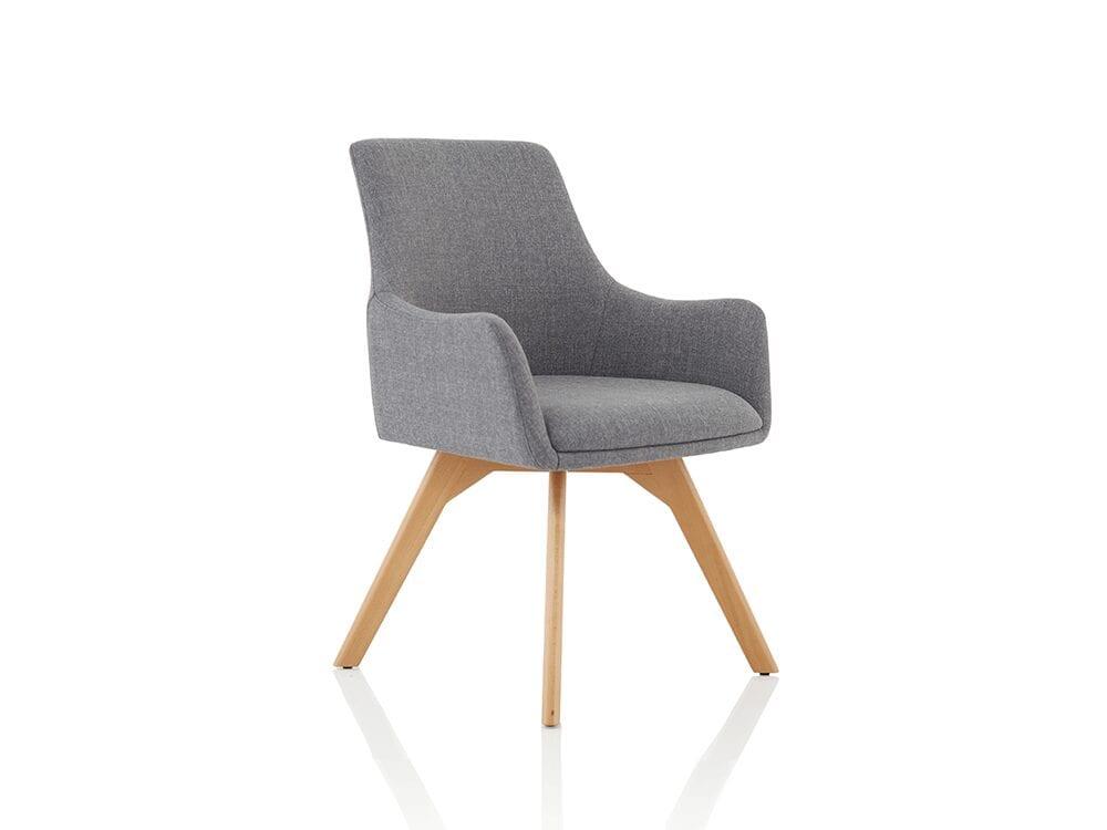 Solo – Grey Fabric Wood Finish Leg Armchair