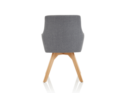 Carmen Grey Fabric Wooden Leg Chair 2