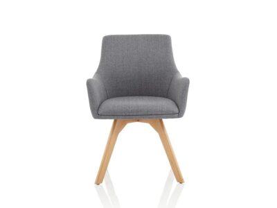 Solo – Grey Fabric Wooden Leg Armchair