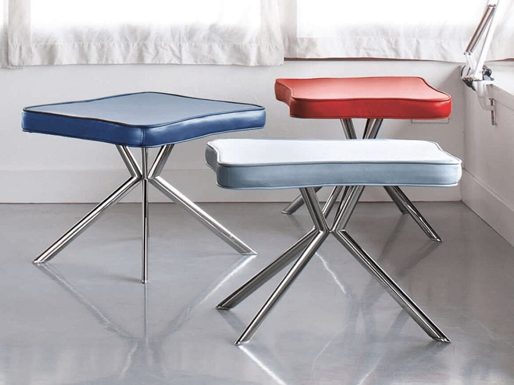 Rome – Leather Stool with Chrome Legs