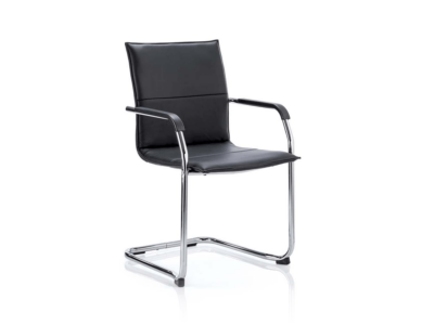 Echo Visitor Cantilever Chair Multicolor Bonded Leather Black