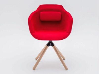 Monroe – Multicolour Armchair with Wood Finish Trestle Base
