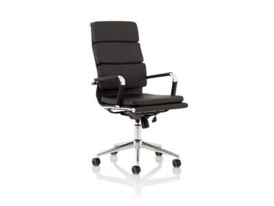 Milan – Black Leather Chrome Executive Chair