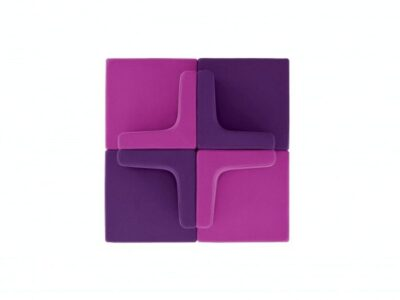 Link – Wood Coupling Square Armchairs with Block Base in Multicolour