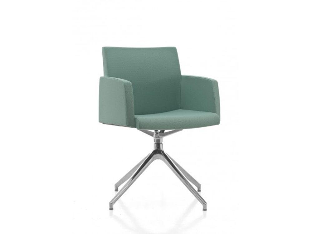 Eva – Multicolour Armchair with Aluminium Trestle Base