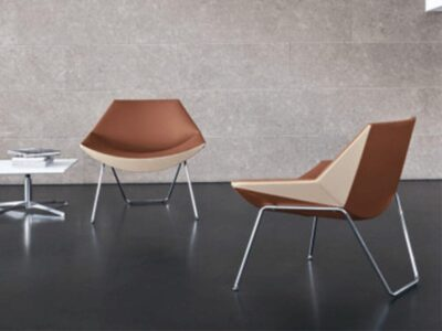 Duo – High Back Armchair with Metal Legs