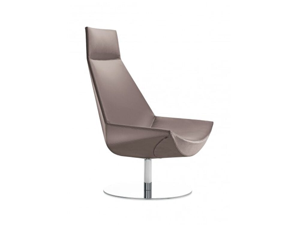 Duo – High Back Leather Chair with Headrest and Stainless-Steel Base