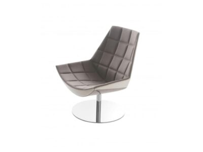 Duo – Medium Back Armchair with Squared Stitching and Round Base