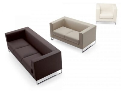 Bart – Armchair and Sofa Suite with Chrome Ring Leg