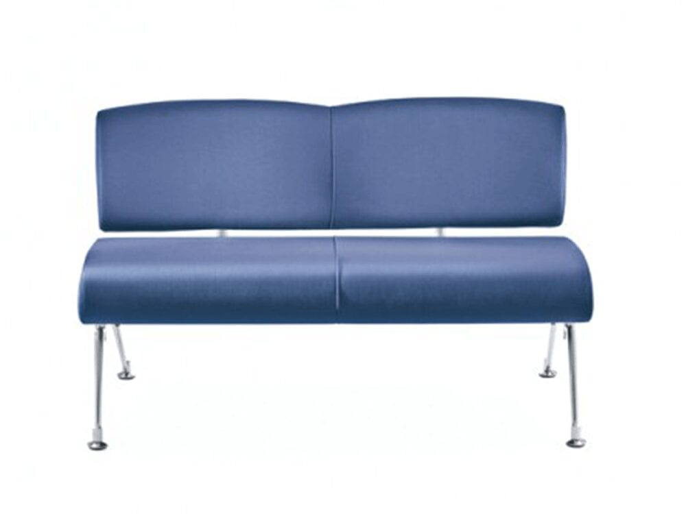 Topaz – Faux Leather Two-Seater Sofa with Aluminium Frame