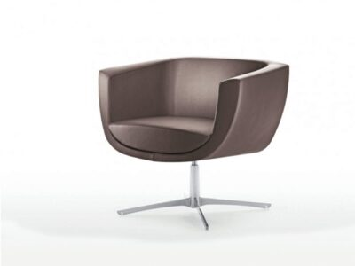Harlow – Low Armchair with Metal Swivel Base