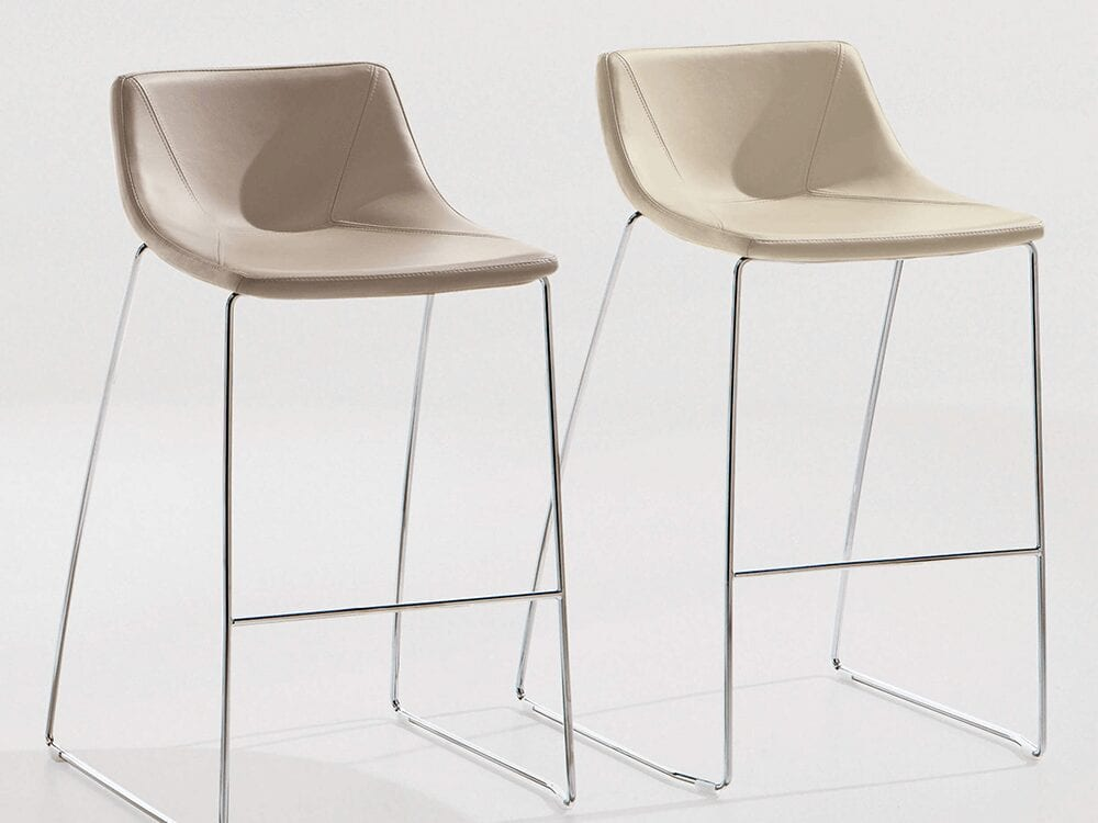 Dune –Leather Bar Stool in Multicolour with Metal Fram