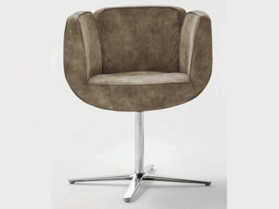 Newton – Leather Tub Armchair with Chrome Cross Feet