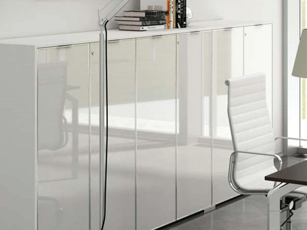 Rey – Medium Level Cupboard with Aluminium Framed Glass Doors