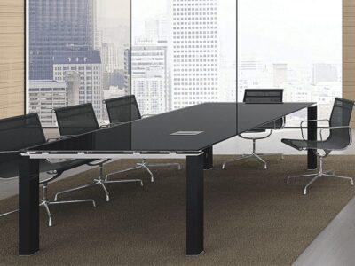 Gem – Glass Top Conference Table with Glass Legs