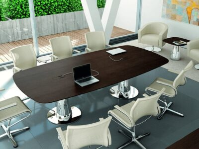 Banks – Oak Boardroom Table with Curved Edges