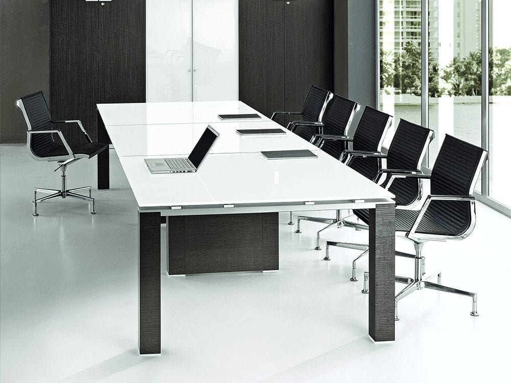 Lustro – White Glass Top Boardroom Table