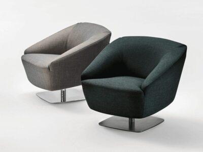 Santos – Medium Back Armchair with Metal Square Base