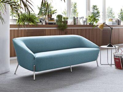 Santos – Three-Seater Sofa in Multicolour with Chrome Legs