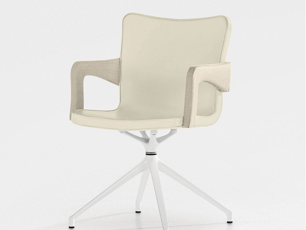 Arlo – Leather Armchair with Swivel Base in Multicolour