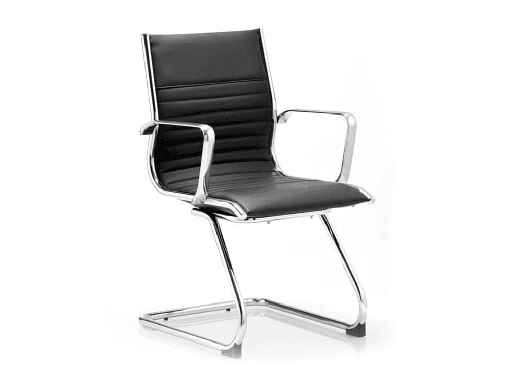 Charme – Bonded Leather Cantilever Visitor Chair with Arms