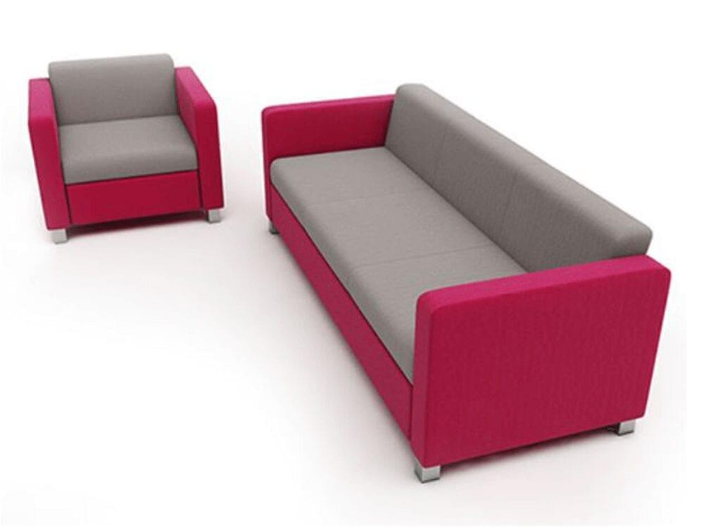 Madison – Three-Seater Sofa in Multicolour with Chrome Feet