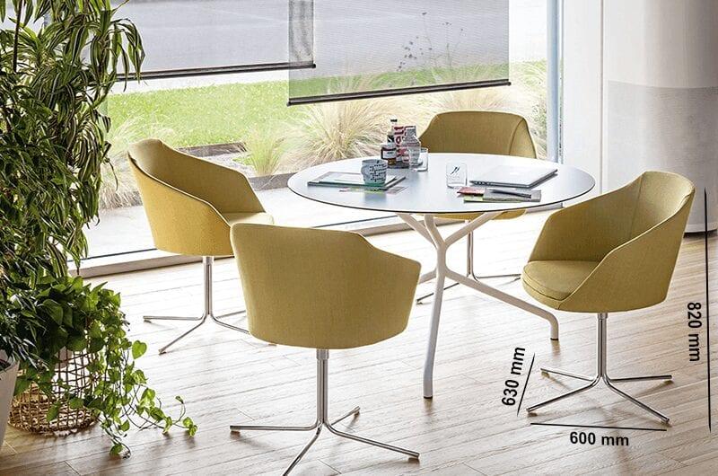 Doris – Leather Armchair with Swivel Base