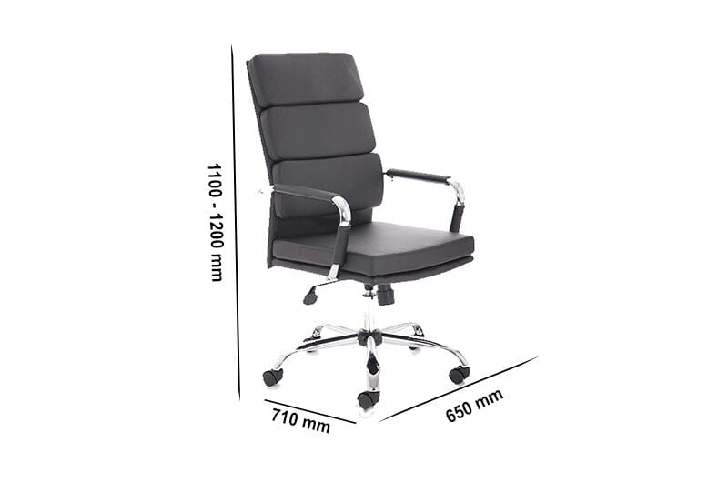 Emerson – Black Bonded Leather Executive Task Chair with Armrest