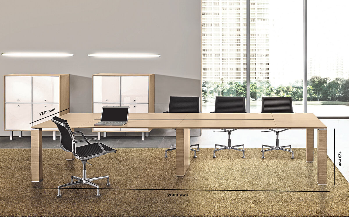 Size Amelia – Wooden Straight Meeting Table