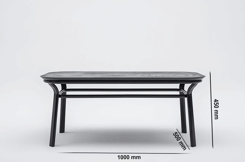 Apollo – Rectangle Wooden Coffee Table with Metal Frame