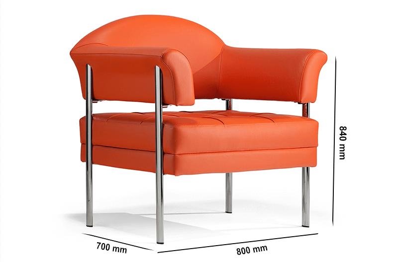 Size Carmella – Medium Back Single Seater Armchair With Chrome Frame